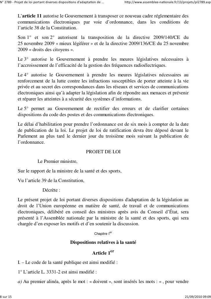 N° 2789 ‐ Projet de loi portant diverses dispositions d'adaptation de ...        http://www.assemblee‐nationale.fr/13/proj...