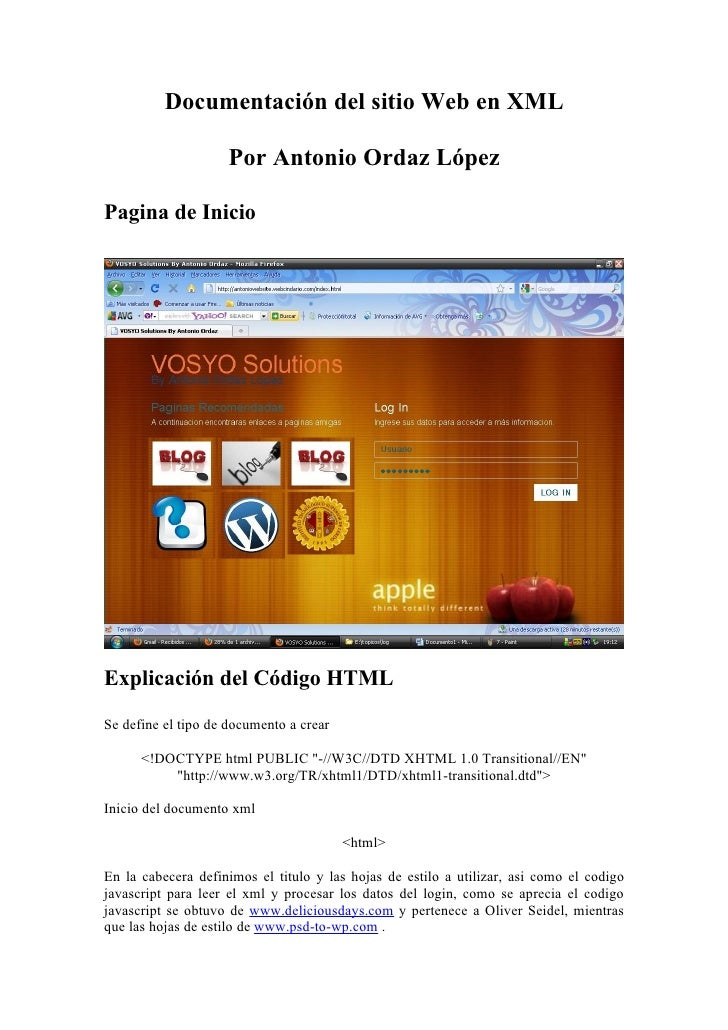 Documentación del sitio Web en XML                      Por Antonio Ordaz López  Pagina de Inicio     Explicación del Códi...