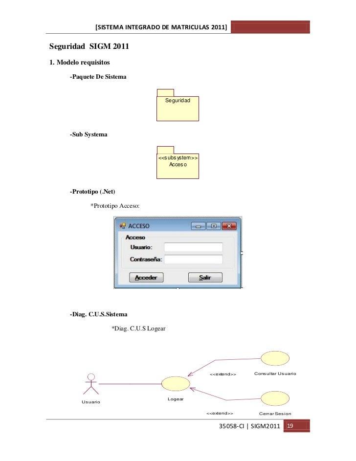 [SISTEMA INTEGRADO DE MATRICULAS 2011]Seguridad SIGM 20111. Modelo requisitos      -Paquete De Sistema                    ...