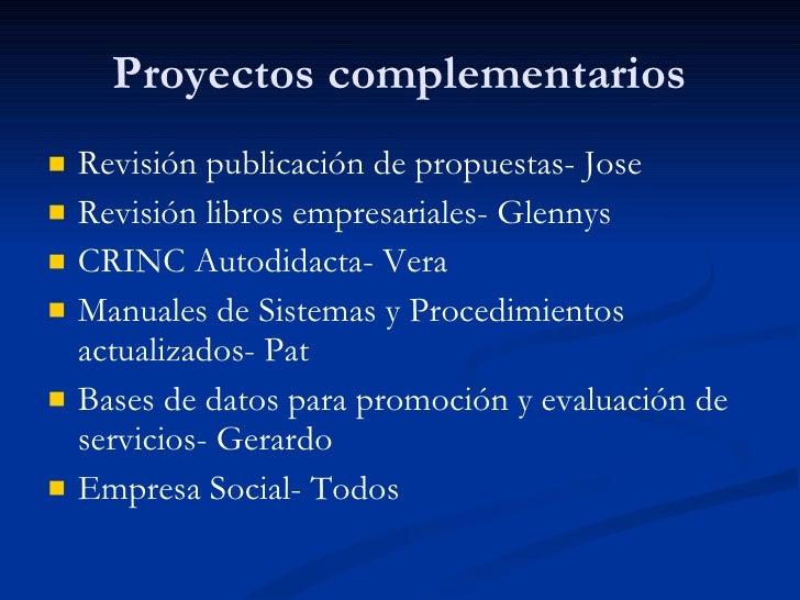 Proyectos complementarios <ul><li>Revisión publicación de propuestas- Jose </li></ul><ul><li>Revisión libros empresariales...
