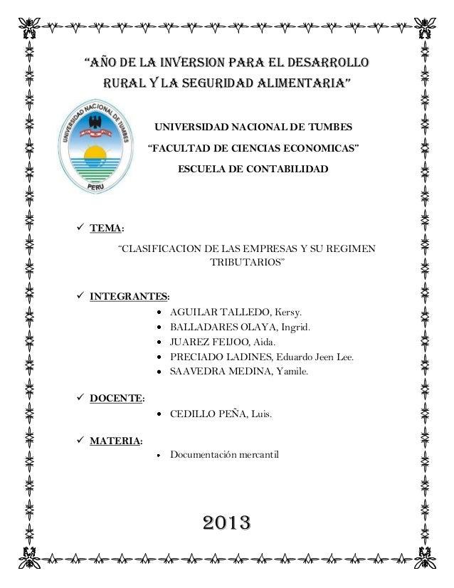 """""""AÑO DE LA INVERSION PARA EL DESARROLLO RURAL Y LA SEGURIDAD ALIMENTARIA"""" UNIVERSIDAD NACIONAL DE TUMBES """"FACULTAD DE CIEN..."""
