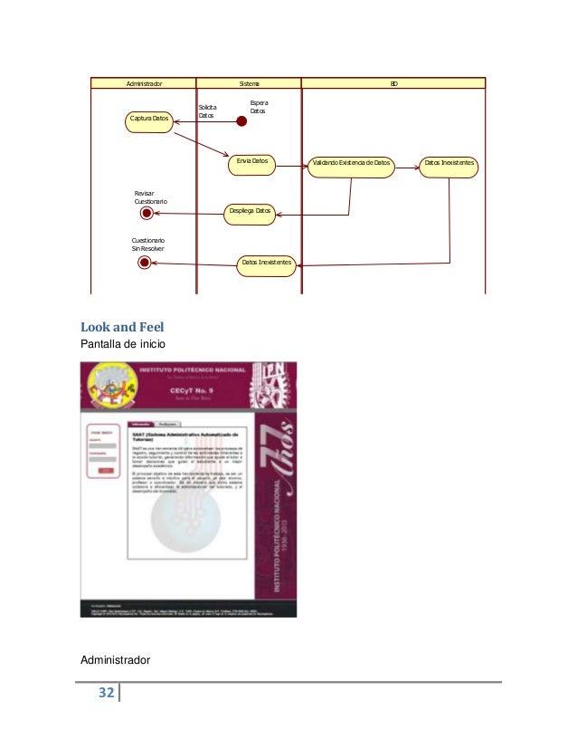32Look and FeelPantalla de inicioAdministradorAdministrador Sistema BDCaptura DatosEnvia Datos Validando Existencia de Dat...