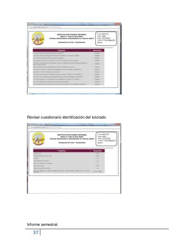 37Revisar cuestionario identificación del tutoradoInforme semestral