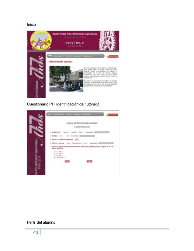 41InicioCuestionario PIT identificación del tutoradoPerfil del alumno