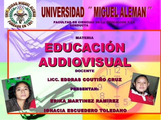 MATERIAMATERIA EDUCACIÓNEDUCACIÓN AUDIOVISUALAUDIOVISUAL DOCENTEDOCENTE LICC.LICC. EDDRAS COUTIÑO CRUZEDDRAS COUTIÑO CRUZ ...
