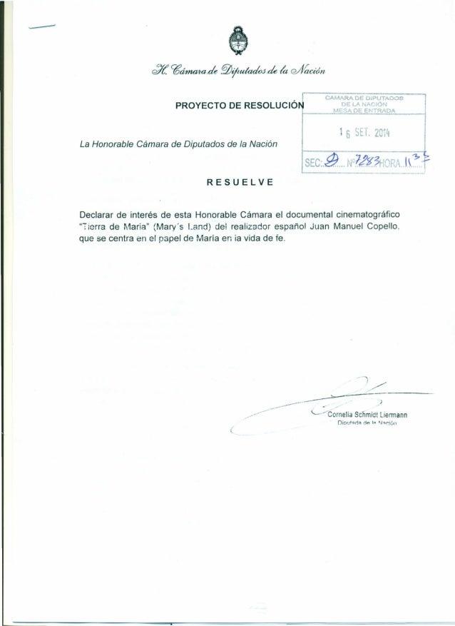 "PROYECTO DE RESOLUCIÓ  CAMARA DE DiPUTADO~  DE LANACIÓIl  MESA DE ENTRADA  6 SET. 2 ""i  La Honorable Cámara de Diputados d..."