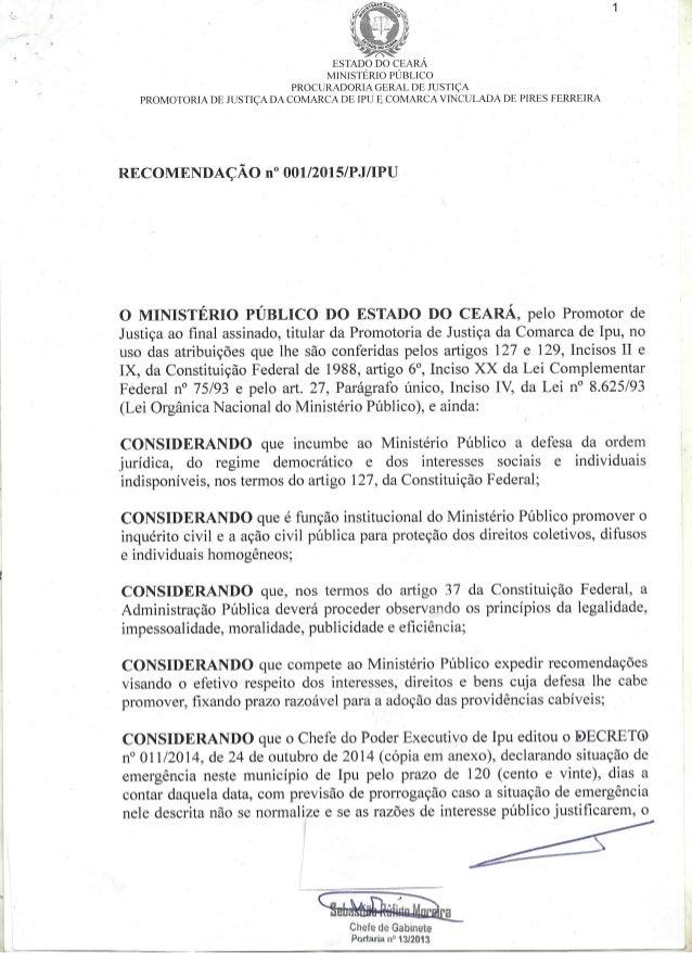 às:  e» ESTADO DO CEARA MINISTERIO PUBLICO  PROCURADORIA GERAL DE JUSTIÇA PROMOTORIA DE JUSTIÇA DA COMARCA DE IPU E_ COMAR...