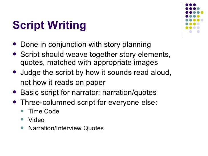 How to write a documentary script sample