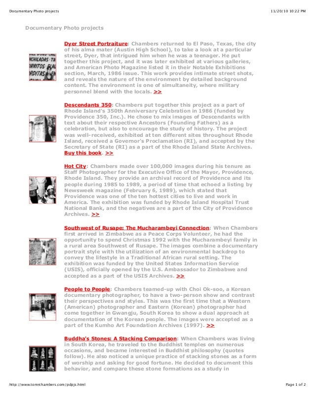11/20/10 10:22 PMDocumentary Photo projects Page 1 of 2http://www.tomrchambers.com/pdpjs.html Documentary Photo projects D...