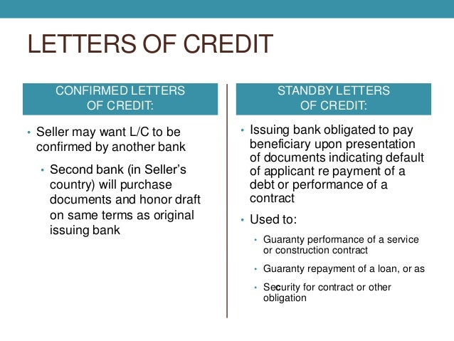Documentary collection letters of credit