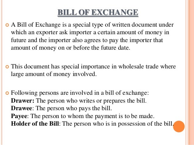 Documentation in international trade – Bill of Exchange Sample