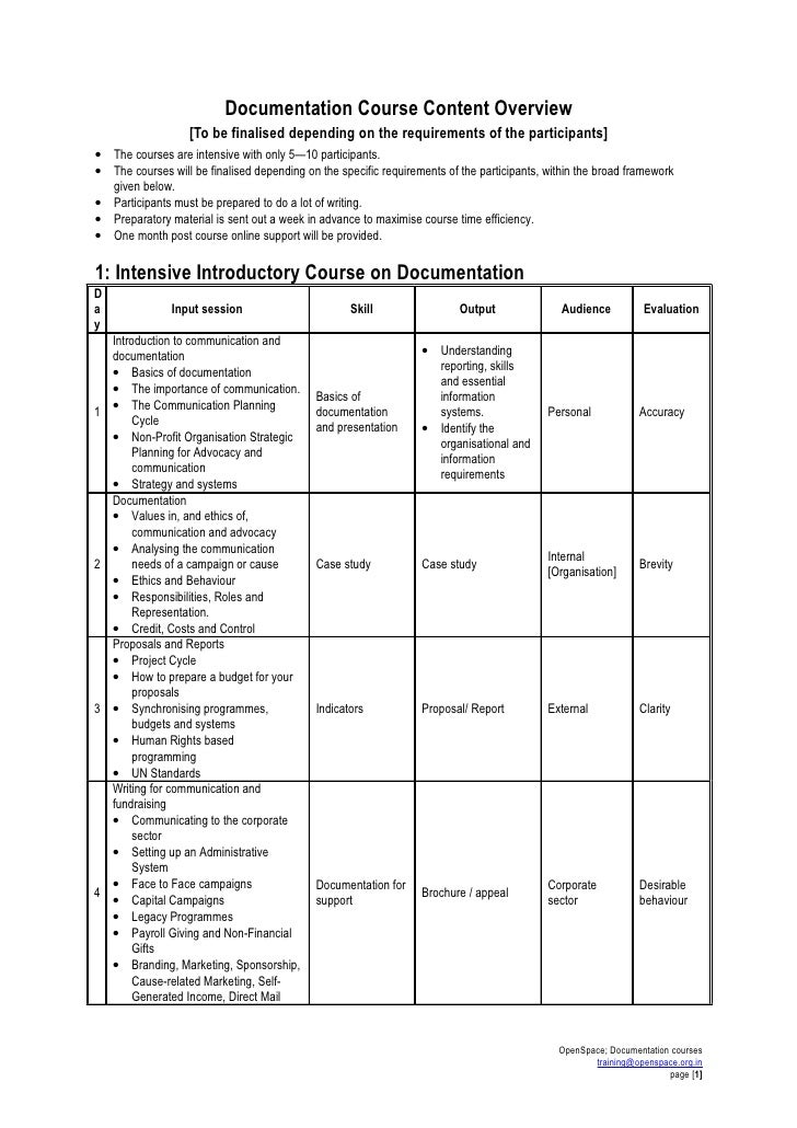 Documentation Course Content Overview                    [To be finalised depending on the requirements of the participant...