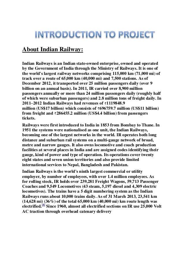 Documentation of railway reservation system