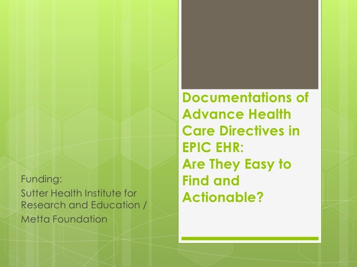Documentations of                              Advance Health                              Care Directives in             ...