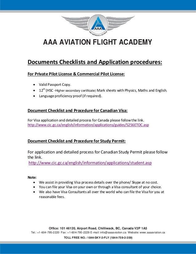 Aaa aviation flight academy Document checklist for visa
