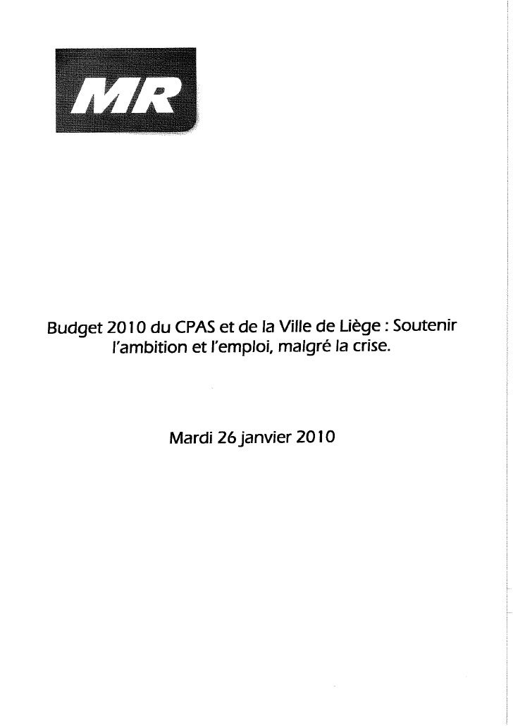 Conférence de Presse du MR relative au Budget 2010 du CPAS et de la Ville de Liège