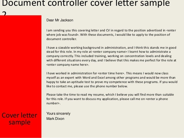 Yours Sincerely Mark Dixon; 3. Document Controller Cover Letter ...