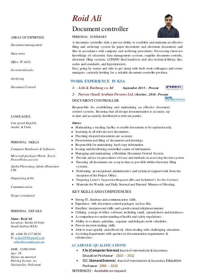 Document controller resume
