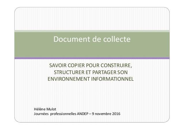 SAVOIR COPIER POUR CONSTRUIRE, STRUCTURER ET PARTAGER SON ENVIRONNEMENT INFORMATIONNEL Document de collecte Hélène Mulot J...