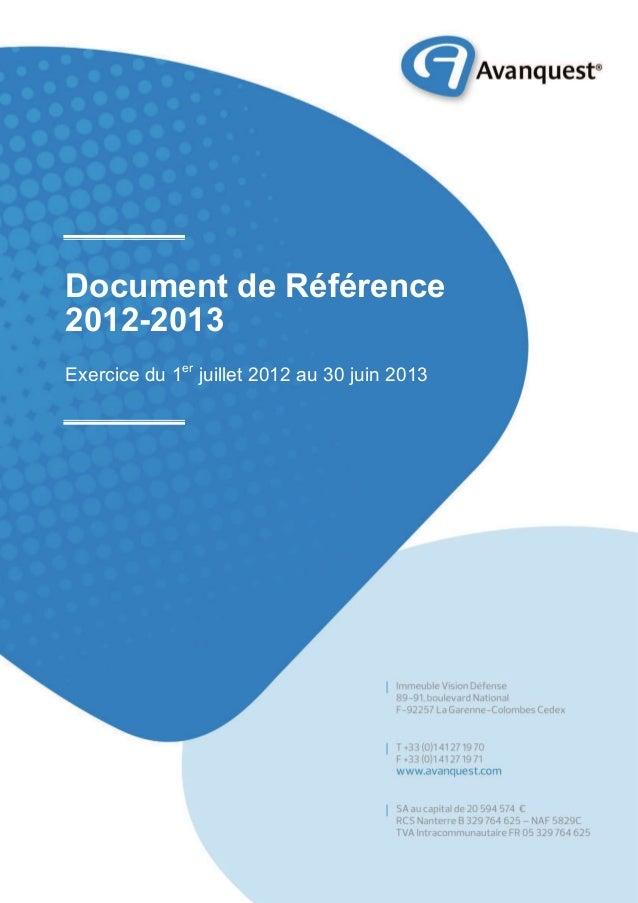 Document de Référence 2012-2013 Exercice du 1er juillet 2012 au 30 juin 2013