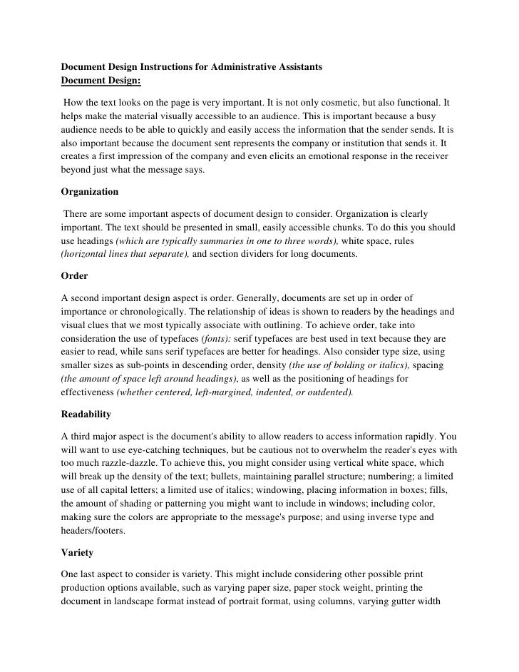 Document Design Instructions For Administrative Assistants