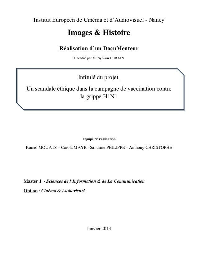 Institut Européen de Cinéma et d'Audiovisuel - NancyImages & HistoireRéalisation d'un DocuMenteurEncadré par M. Sylvain DU...