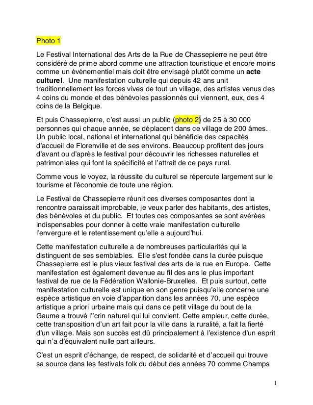 1 Photo 1 Le Festival International des Arts de la Rue de Chassepierre ne peut être considéré de prime abord comme une att...