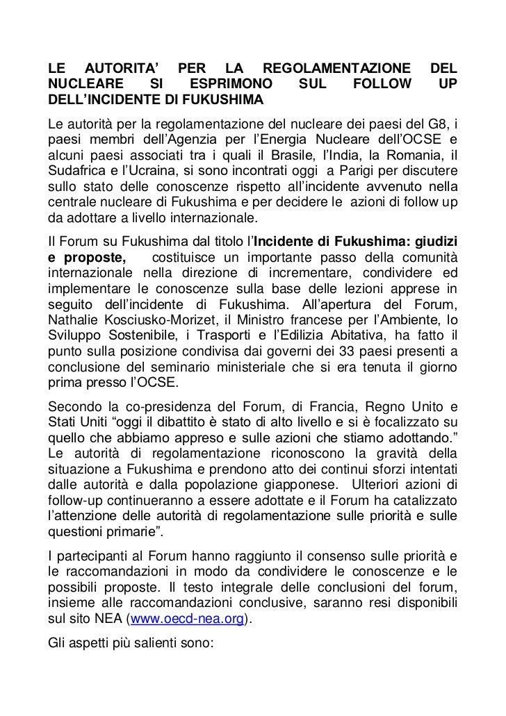 LE AUTORITA' PER LA REGOLAMENTAZIONE                                  DELNUCLEARE     SI    ESPRIMONO SUL FOLLOW          ...
