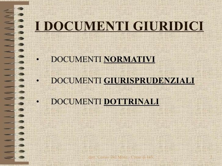 I DOCUMENTI GIURIDICI <ul><li>DOCUMENTI  NORMATIVI </li></ul><ul><li>DOCUMENTI  GIURISPRUDENZIALI </li></ul><ul><li>DOCUME...