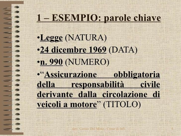 1 – ESEMPIO: parole chiave <ul><li>Legge  (NATURA) </li></ul><ul><li>24 dicembre 1969  (DATA) </li></ul><ul><li>n. 990  (N...