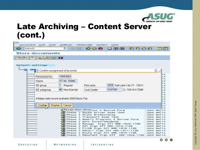 Late Archiving – Content Server(cont.)