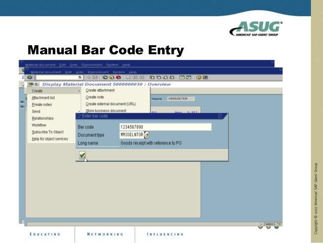 Manual Bar Code Entry