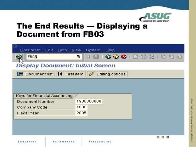 The End Results — Displaying aDocument from FB03