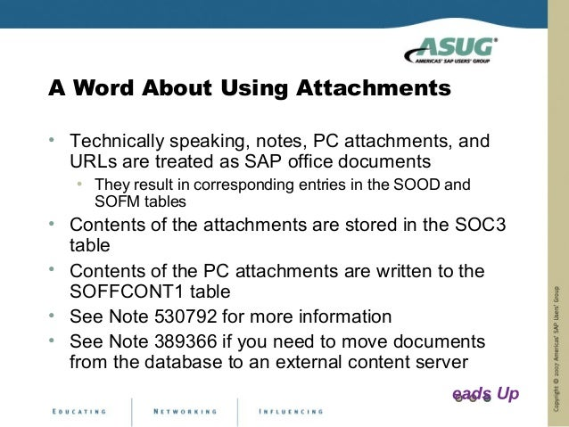 A Word About Using Attachments• Technically speaking, notes, PC attachments, and  URLs are treated as SAP office documents...
