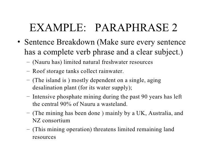 Paraphrasing 2 sentences
