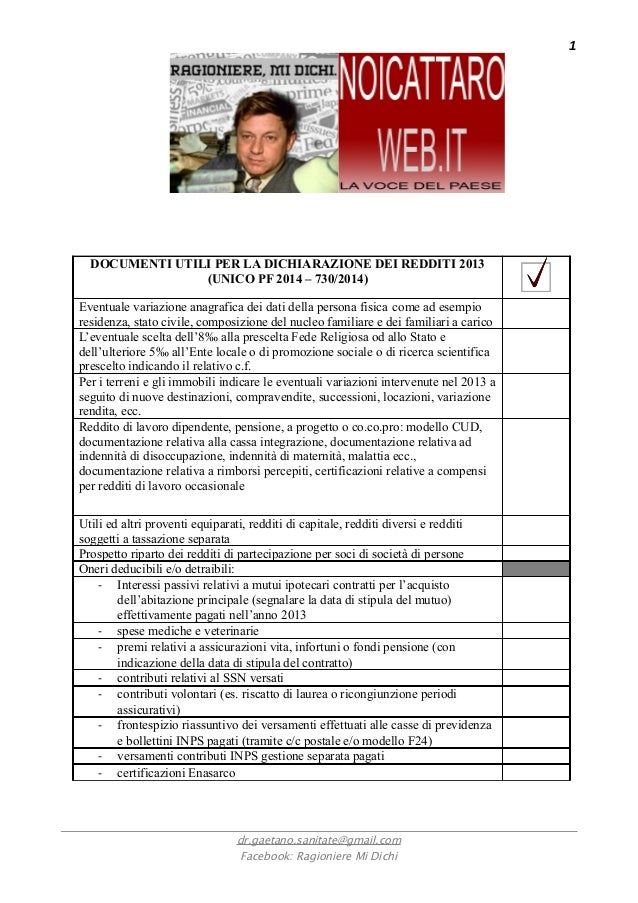 Documenti utili per dichiarazione dei redditi 2014 - Documenti per il 730 ...