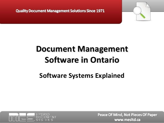 Software Systems Explained Document ManagementDocument Management Software in OntarioSoftware in Ontario