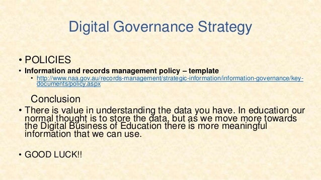champion 25 digital governance strategy policies information