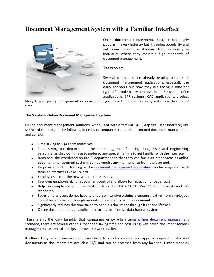 Document Management System with a Familiar Interface                                                Online document manage...