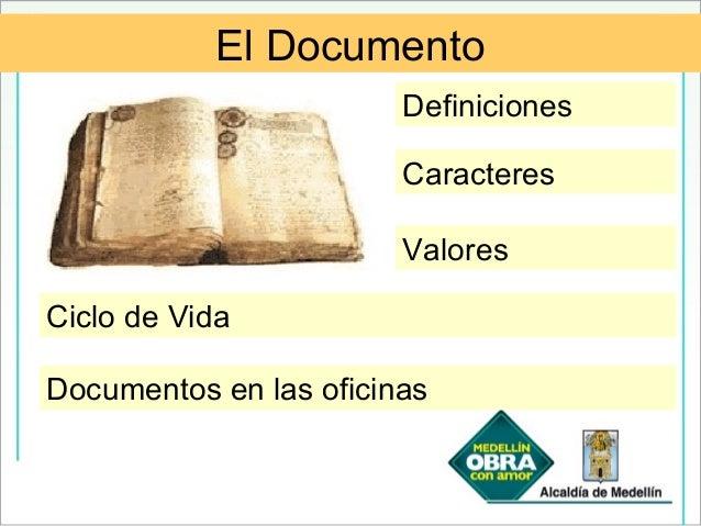 Documentos en las oficinas Definiciones Caracteres Valores Ciclo de Vida El Documento