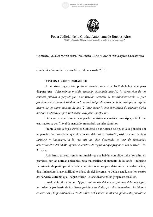 """Poder Judicial de la Ciudad Autónoma de Buenos Aires                      """"2013. Año del 30 aniversario de la vuelta a la ..."""