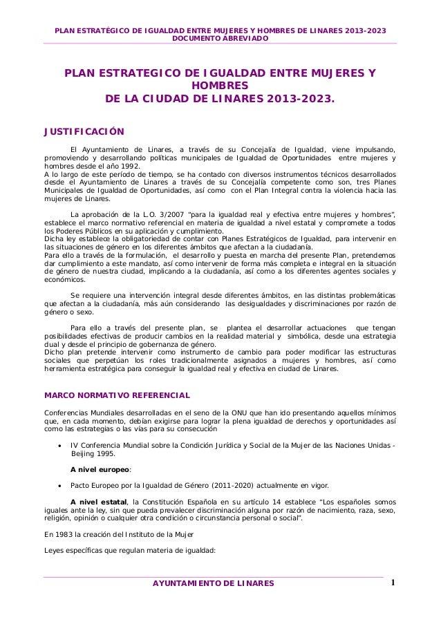 PLAN ESTRATÉGICO DE IGUALDAD ENTRE MUJERES Y HOMBRES DE LINARES 2013-2023                            DOCUMENTO ABREVIADO  ...