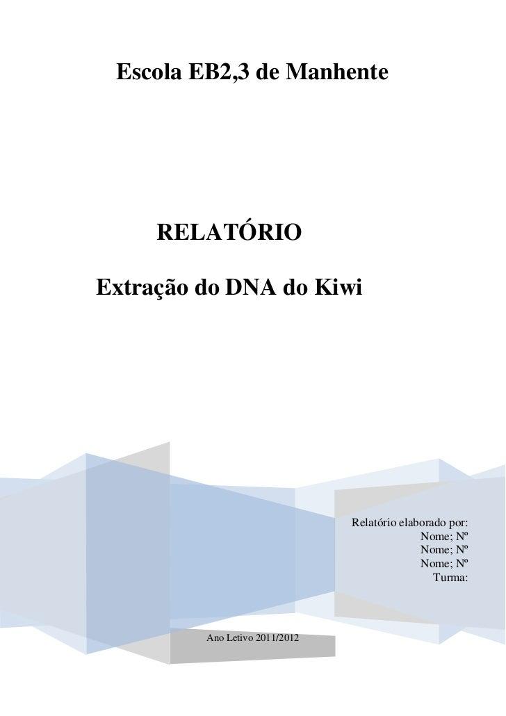 Escola EB2,3 de Manhente     RELATÓRIOExtração do DNA do Kiwi                                Relatório elaborado por:     ...