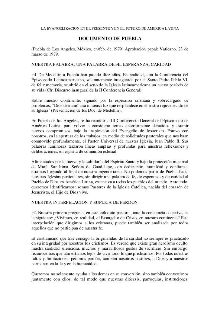 Documento de  Puebla - 1979