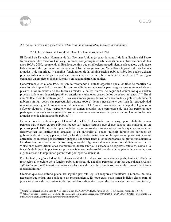 2.2. La normativa y jurisprudencia del derecho internacional de los derechos humanos          2.2.1. La doctrina del Comit...