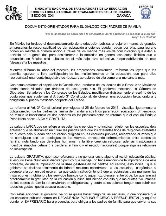 SINDICATO NACIONAL DE TRABAJADORES DE LA EDUCACIÓN              COORDINADORA NACIONAL DE TRABAJADORES DE LA EDUCACIÓN     ...