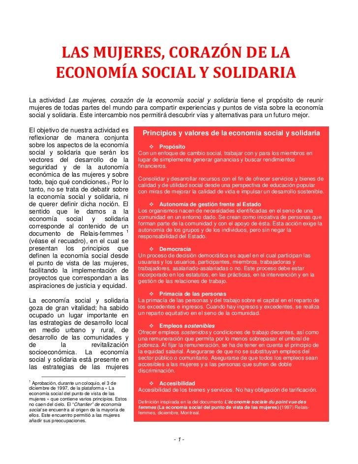 LAS MUJERES, CORAZÓN DE LA      ECONOMÍA SOCIAL Y SOLIDARIAIntention du documentLa actividad Las mujeres, corazón de la ec...