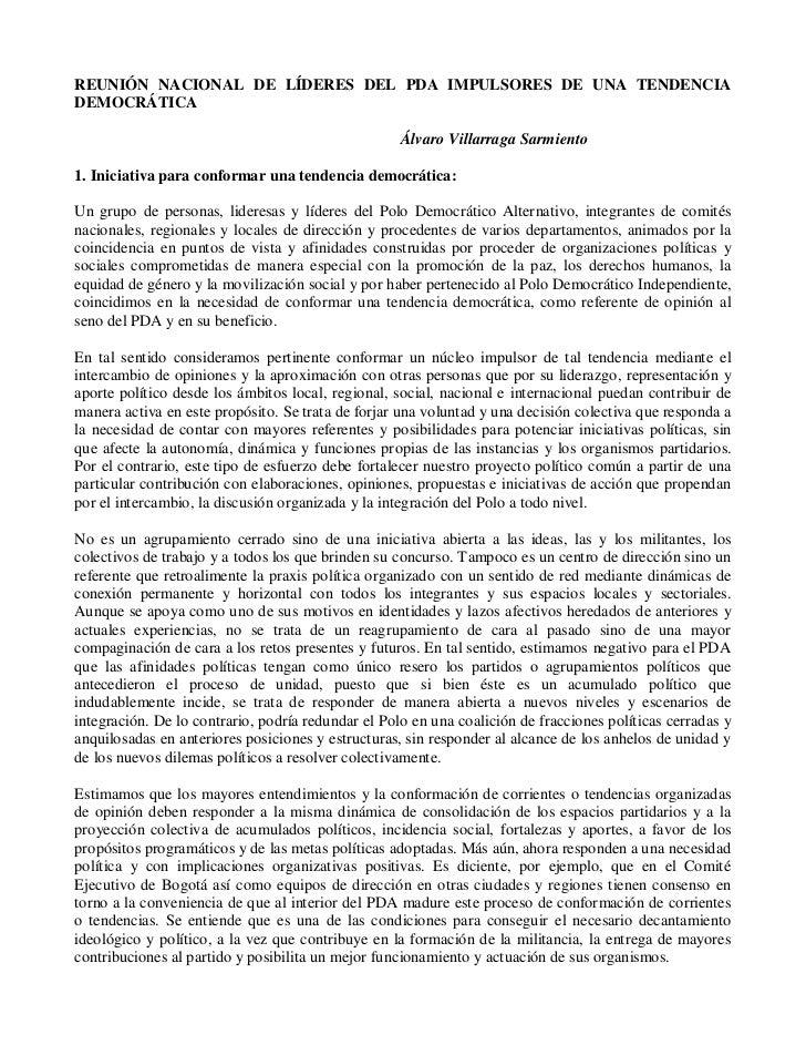 REUNIÓN NACIONAL DE LÍDERES DEL PDA IMPULSORES DE UNA TENDENCIA DEMOCRÁTICA                                               ...