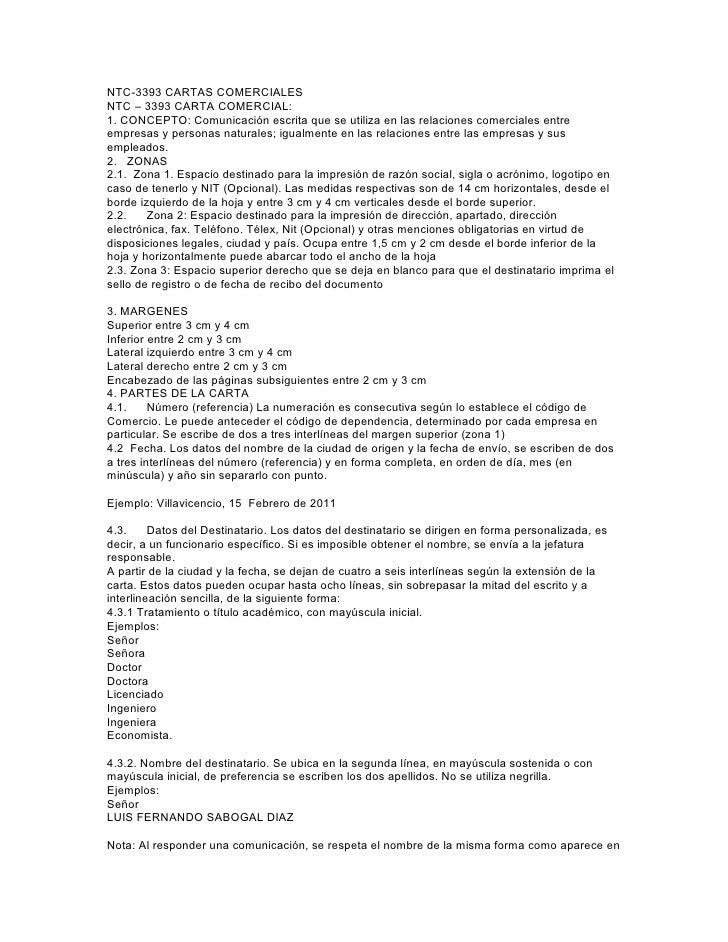 NTC-3393 CARTAS COMERCIALESNTC – 3393 CARTA COMERCIAL:1. CONCEPTO: Comunicación escrita que se utiliza en las relaciones c...
