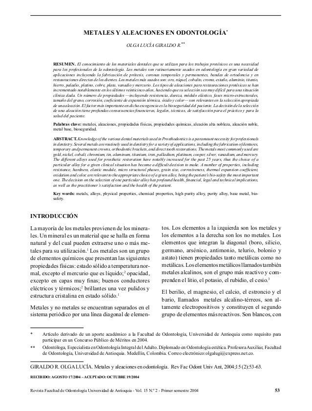 Revista Facultad de Odontología Universidad de Antioquia - Vol. 15 N.º 2 - Primer semestre 2004 53 METALES Y ALEACIONES EN...